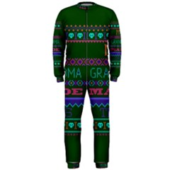My Grandma Made This Ugly Holiday Green Background OnePiece Jumpsuit (Men)