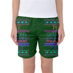 My Grandma Made This Ugly Holiday Green Background Women s Basketball Shorts