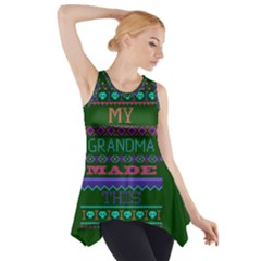 My Grandma Made This Ugly Holiday Green Background Side Drop Tank Tunic