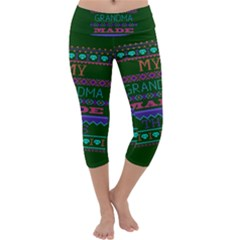 My Grandma Made This Ugly Holiday Green Background Capri Yoga Leggings
