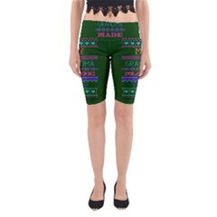 My Grandma Made This Ugly Holiday Green Background Yoga Cropped Leggings