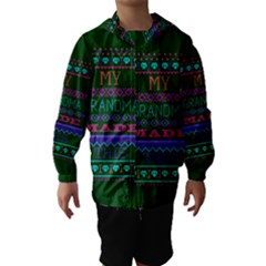 My Grandma Made This Ugly Holiday Green Background Hooded Wind Breaker (Kids)