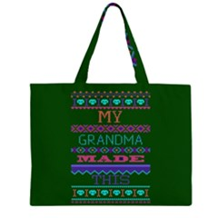 My Grandma Made This Ugly Holiday Green Background Large Tote Bag