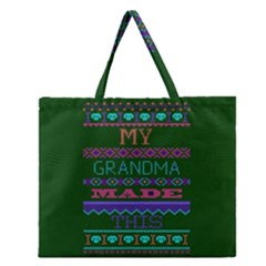 My Grandma Made This Ugly Holiday Green Background Zipper Large Tote Bag