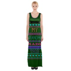 My Grandma Made This Ugly Holiday Green Background Maxi Thigh Split Dress