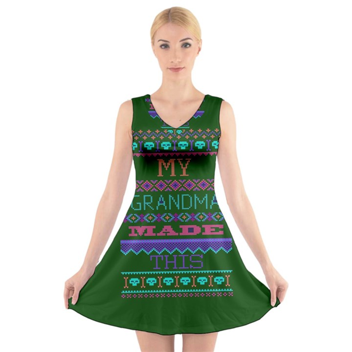 My Grandma Made This Ugly Holiday Green Background V-Neck Sleeveless Skater Dress