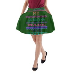 My Grandma Made This Ugly Holiday Green Background A-Line Pocket Skirt