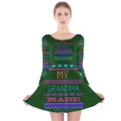 My Grandma Made This Ugly Holiday Green Background Long Sleeve Velvet Skater Dress