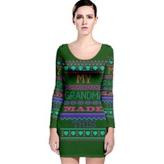 My Grandma Made This Ugly Holiday Green Background Long Sleeve Velvet Bodycon Dress