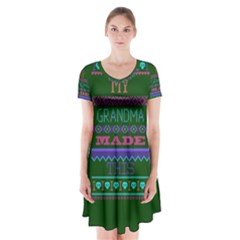 My Grandma Made This Ugly Holiday Green Background Short Sleeve V-neck Flare Dress