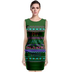 My Grandma Made This Ugly Holiday Green Background Classic Sleeveless Midi Dress