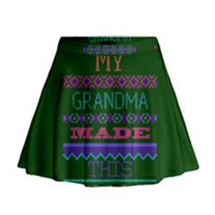 My Grandma Made This Ugly Holiday Green Background Mini Flare Skirt