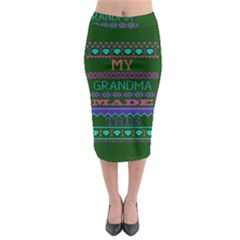 My Grandma Made This Ugly Holiday Green Background Midi Pencil Skirt