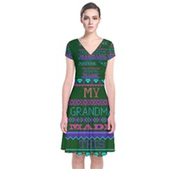 My Grandma Made This Ugly Holiday Green Background Short Sleeve Front Wrap Dress