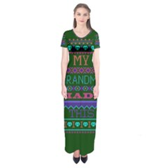 My Grandma Made This Ugly Holiday Green Background Short Sleeve Maxi Dress