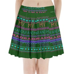My Grandma Made This Ugly Holiday Green Background Pleated Mini Skirt