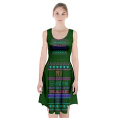 My Grandma Made This Ugly Holiday Green Background Racerback Midi Dress