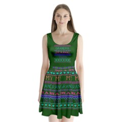 My Grandma Made This Ugly Holiday Green Background Split Back Mini Dress