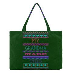 My Grandma Made This Ugly Holiday Green Background Medium Tote Bag