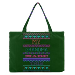 My Grandma Made This Ugly Holiday Green Background Medium Zipper Tote Bag