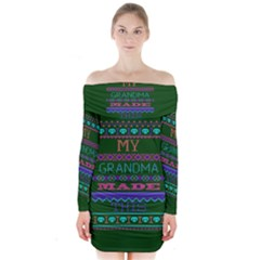 My Grandma Made This Ugly Holiday Green Background Long Sleeve Off Shoulder Dress