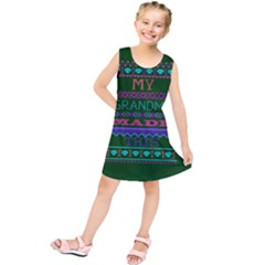 My Grandma Made This Ugly Holiday Green Background Kids  Tunic Dress