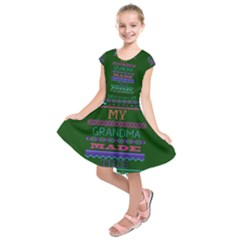 My Grandma Made This Ugly Holiday Green Background Kids  Short Sleeve Dress
