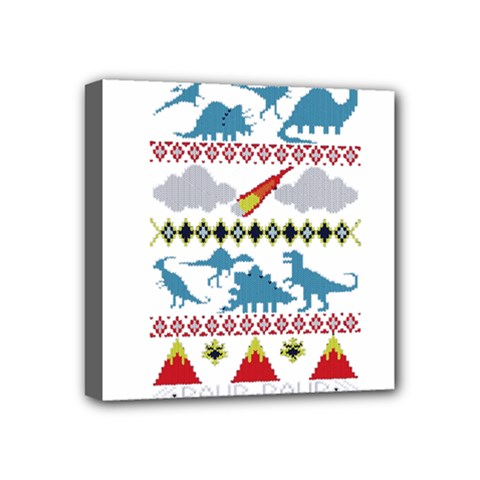My Grandma Likes Dinosaurs Ugly Holiday Christmas Mini Canvas 4  x 4