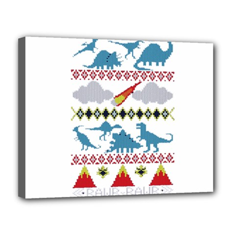 My Grandma Likes Dinosaurs Ugly Holiday Christmas Canvas 14  x 11