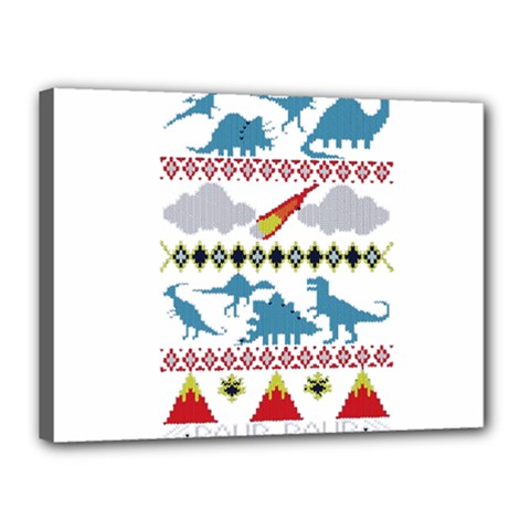 My Grandma Likes Dinosaurs Ugly Holiday Christmas Canvas 16  x 12