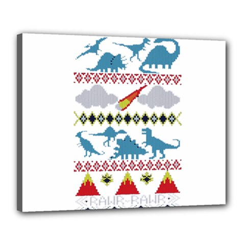 My Grandma Likes Dinosaurs Ugly Holiday Christmas Canvas 20  x 16
