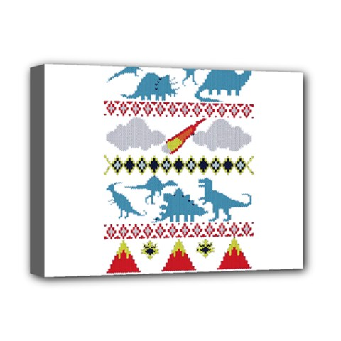 My Grandma Likes Dinosaurs Ugly Holiday Christmas Deluxe Canvas 16  x 12