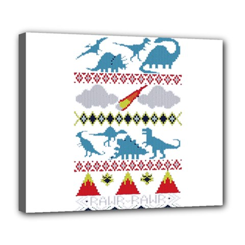 My Grandma Likes Dinosaurs Ugly Holiday Christmas Deluxe Canvas 24  x 20