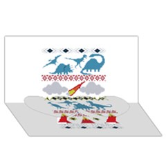 My Grandma Likes Dinosaurs Ugly Holiday Christmas Twin Heart Bottom 3D Greeting Card (8x4)