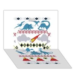 My Grandma Likes Dinosaurs Ugly Holiday Christmas Circle 3D Greeting Card (7x5)