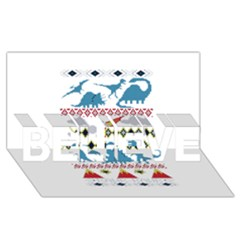 My Grandma Likes Dinosaurs Ugly Holiday Christmas BELIEVE 3D Greeting Card (8x4)