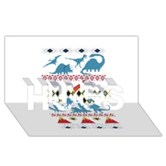 My Grandma Likes Dinosaurs Ugly Holiday Christmas HUGS 3D Greeting Card (8x4)