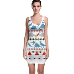 My Grandma Likes Dinosaurs Ugly Holiday Christmas Sleeveless Bodycon Dress