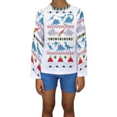 My Grandma Likes Dinosaurs Ugly Holiday Christmas Kids  Long Sleeve Swimwear