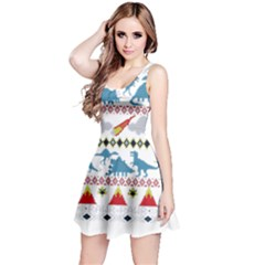My Grandma Likes Dinosaurs Ugly Holiday Christmas Reversible Sleeveless Dress