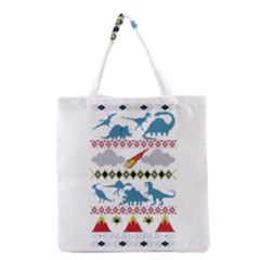 My Grandma Likes Dinosaurs Ugly Holiday Christmas Grocery Tote Bag