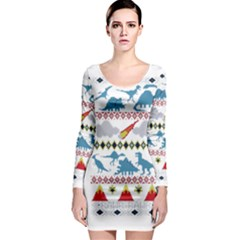 My Grandma Likes Dinosaurs Ugly Holiday Christmas Long Sleeve Bodycon Dress