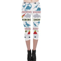 My Grandma Likes Dinosaurs Ugly Holiday Christmas Capri Leggings