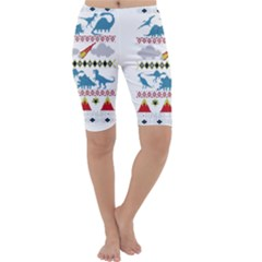 My Grandma Likes Dinosaurs Ugly Holiday Christmas Cropped Leggings