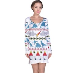My Grandma Likes Dinosaurs Ugly Holiday Christmas Long Sleeve Nightdress
