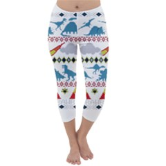 My Grandma Likes Dinosaurs Ugly Holiday Christmas Capri Winter Leggings