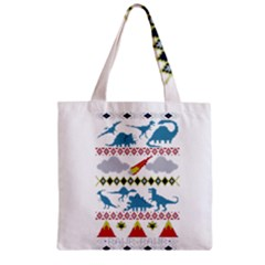 My Grandma Likes Dinosaurs Ugly Holiday Christmas Zipper Grocery Tote Bag