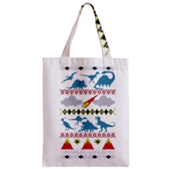 My Grandma Likes Dinosaurs Ugly Holiday Christmas Zipper Classic Tote Bag