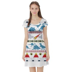 My Grandma Likes Dinosaurs Ugly Holiday Christmas Short Sleeve Skater Dress