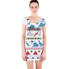 My Grandma Likes Dinosaurs Ugly Holiday Christmas Short Sleeve Bodycon Dress